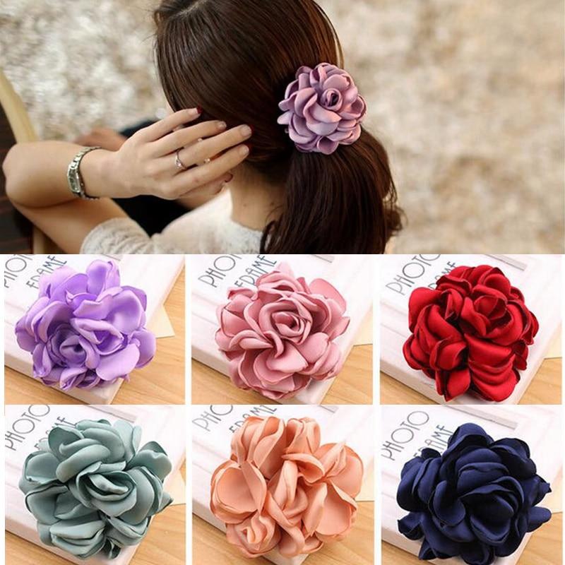 Fashion Big Rose Flower Sweet Elastics Hair Rubber Bands Girls Women Cute Tie Gum Fabric Holders Ponytail Headwear Accessories