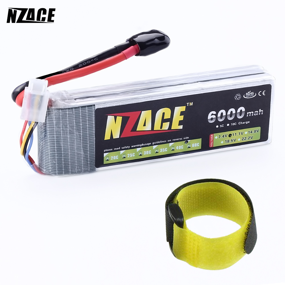 NZACE POWER 3S lipo battery 11.1v 6000mAh 60C rc helicopter rc car rc boat quadcopter remote control toys Li-Polymer battey compatible bare lamp dt00911 fit for 90x 900x 960x 6680x cp x401 cp x201