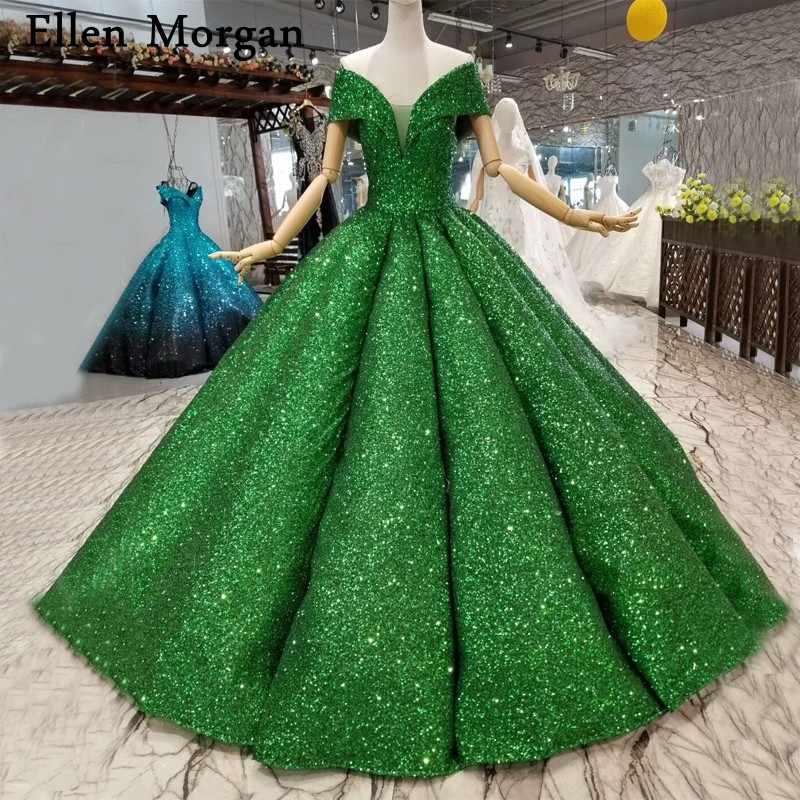 Green Glitter Fabric Wedding Dresses For Women Wear Real Photos