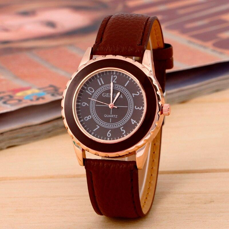 Женева женские часы стильный кристалл платье часы мода повседневная часы кожа женщины наручные часы женщины платье часы reloj mujer