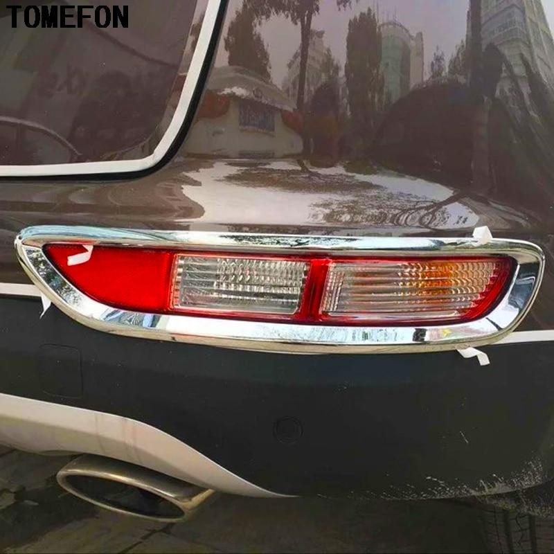 TOMEFON Chrome Rear Fog Tail Light Lamp Cover Trim Bezel Bumper Foglight Garnish Molding Styling For Kia Sportage QL 2016 2017
