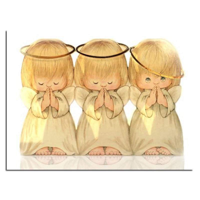 Diamante ricamo tre carino little angel 40x30 fai da te diamante trapano piazza strass incollato artigianato cucito decorazione della casa