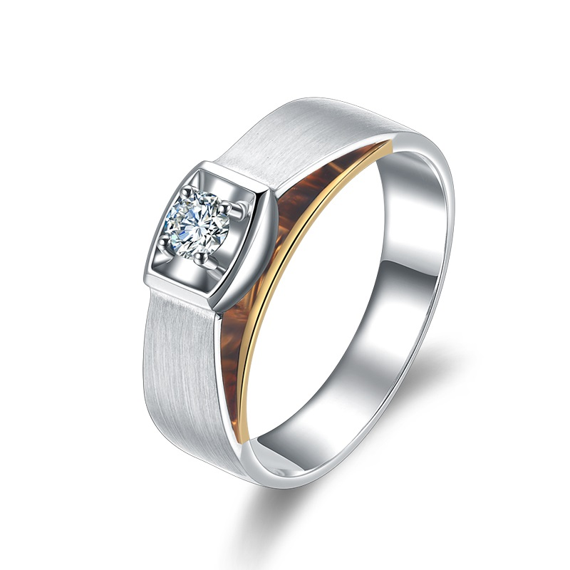 18K Gold Diamond font b Ring b font for Men Genuine K Gold and Natural Diamond