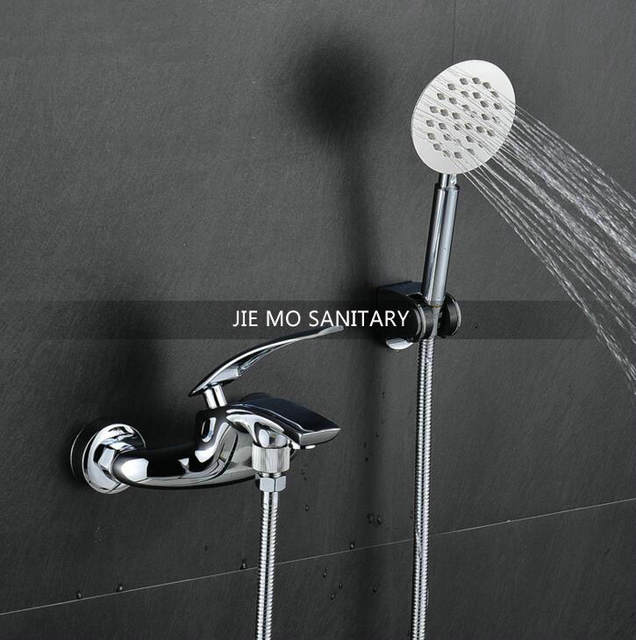 New Six Colors Bathroom Exposed Install Shower Sets Bath Mixer Faucet Hot And Cold Tap With Hand Jm227