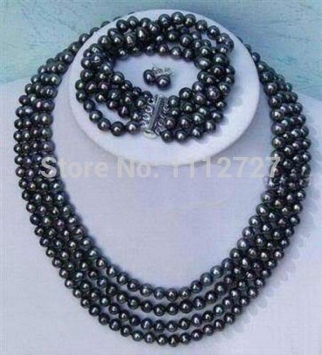 Femmes cadeau mot amour femmes mode bijoux ensemble chaud nouvelle mode plus noble 4 rangées 6-7mm noir perle collier bracelet boucle d'oreille