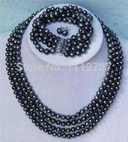 Women Gift word Love women Fashion Jewelry Jewelry set Hot new fashion Noblest 4rows 6 7mm black pearl necklace bracelet earring