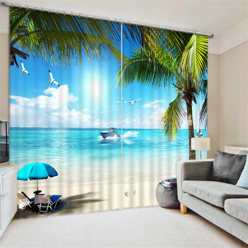 3D Window Curtain Beautiful beach print Luxury Blackout Living Room Bedroom Drapes Cortinas Rideaux Customized size pillowcase