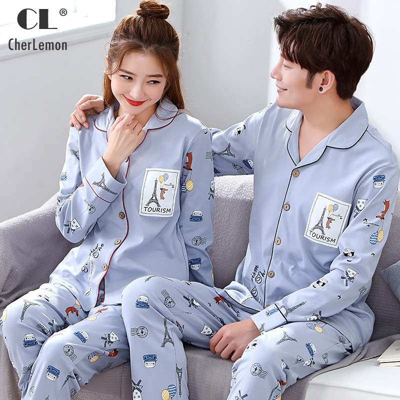 CherLemon 2018 Cardigan Knitted Cotton Couple Pajamas Spring Autumn Long Sleeve Sleepwear Women Mens Blue Printted Loungewear