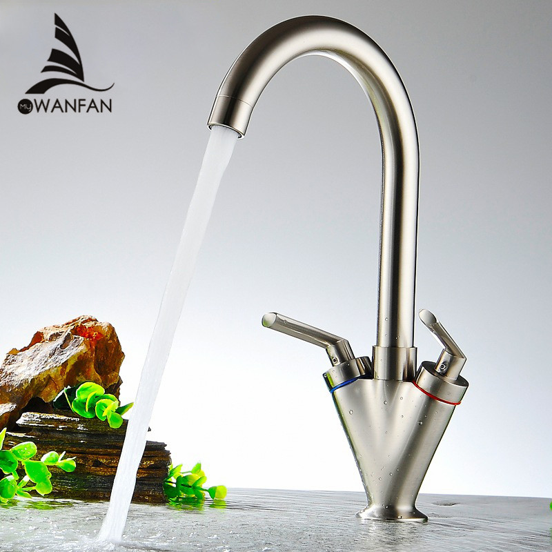 Kitchen Faucets Brass Material Double Handle Kitchen Sink Tap Kitchen Crane Mixer 360Swivel Kitchen Faucets Torneira XL5007