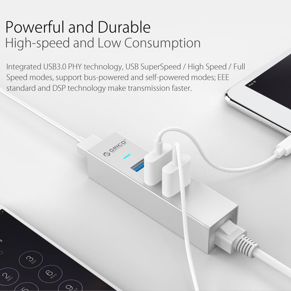 ORICO ASH3L-U3 Aluminum USB3.0 HUB with RJ45 for MAC Notebook Perfectly - Silver