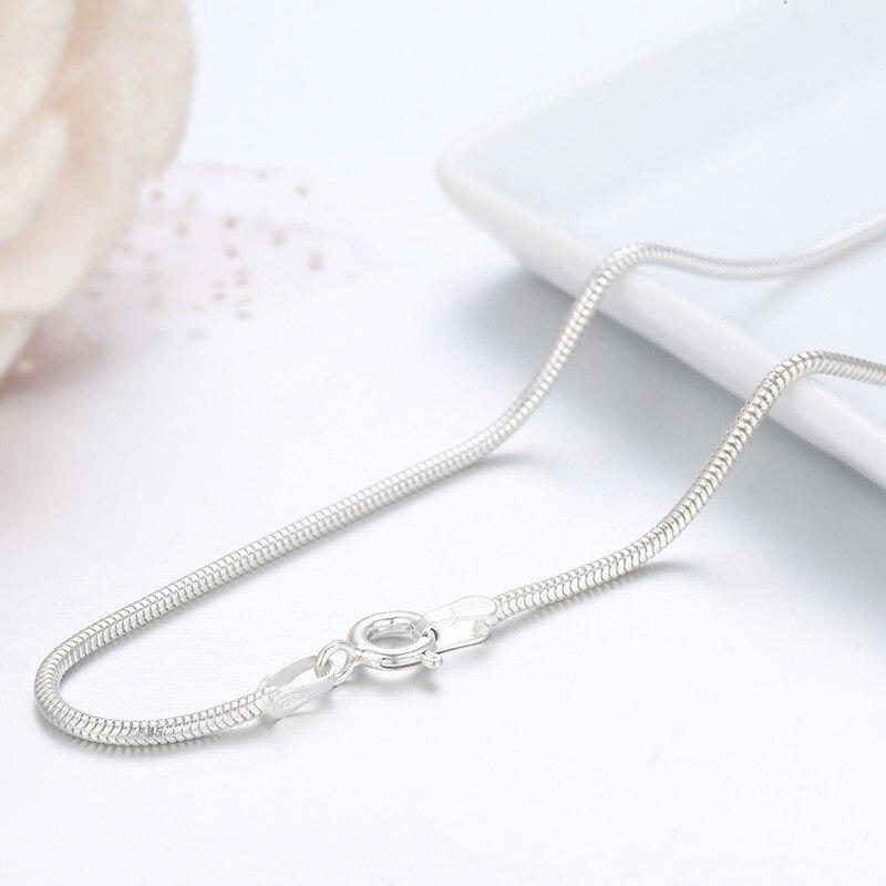 54759d63ca92 40 cm-90 cm sólido Real 925 plata esterlina pura ronda collar de ...