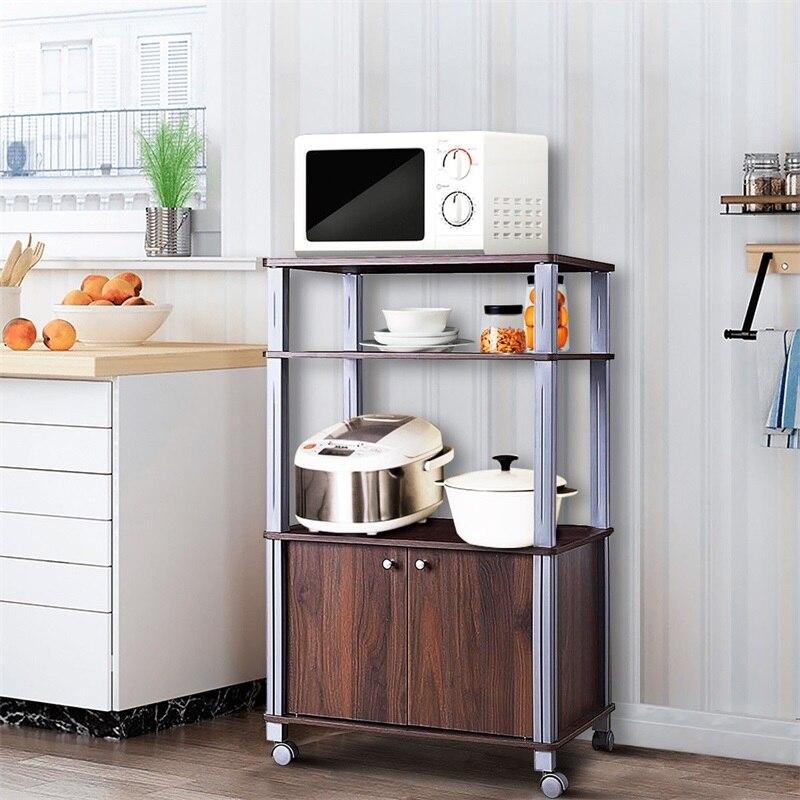 Support de cuisson support micro-ondes chariot de rangement roulant avec roues 3 étagères armoire 2 portes étanche P2 MDF chariot de cuisine HW60180