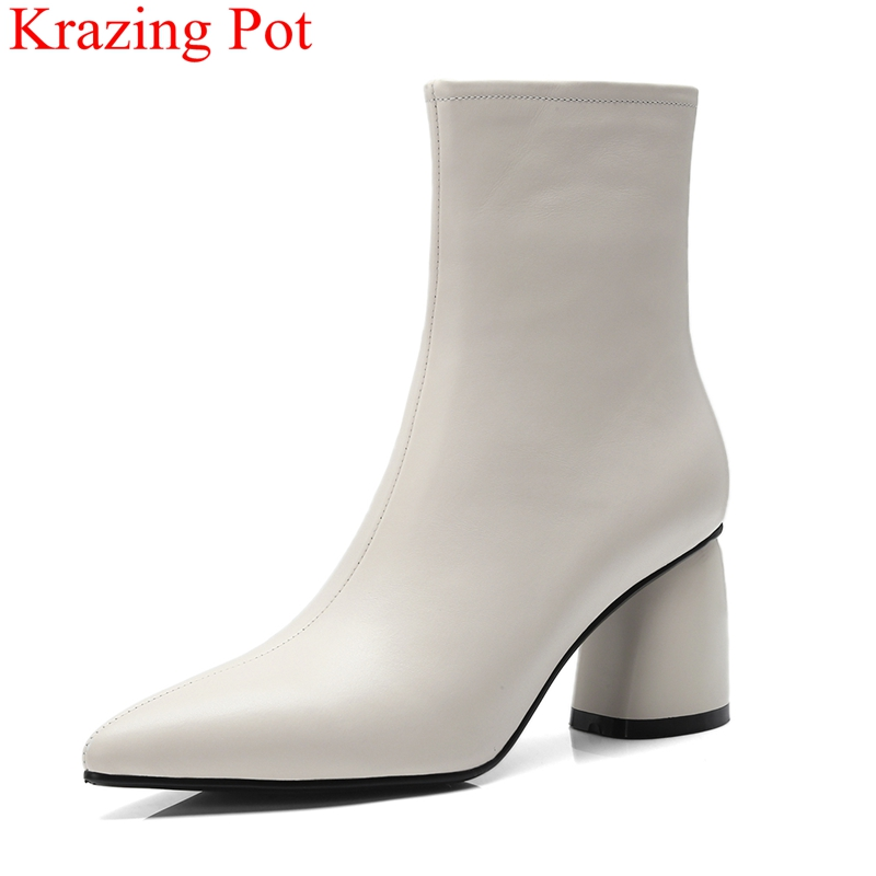 2018 superstar pointed toe genuine leather high heels ankle boots women zipper elegant office lady fashion boots sexy shoes L13 2018 superstar pointed toe genuine leather high heels ankle boots women zipper elegant office lady fashion boots sexy shoes L13