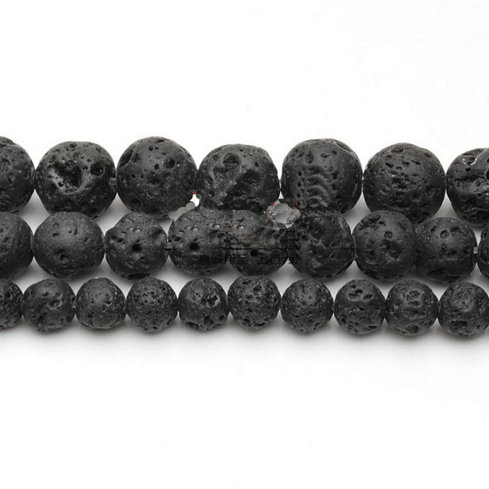 4/6/8/10/12 mm Black Volcanic Stone Synthetic Lava Stone Round Beads Dyed For Jewelry Making DIY Bracelet&Necklace wh