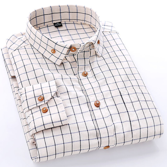 Spring 2016 Men's Long-Sleeve Small Plaid Dress Shirt Cotton Classic-fit Single Breasted Formal Casual Button Down Shirts