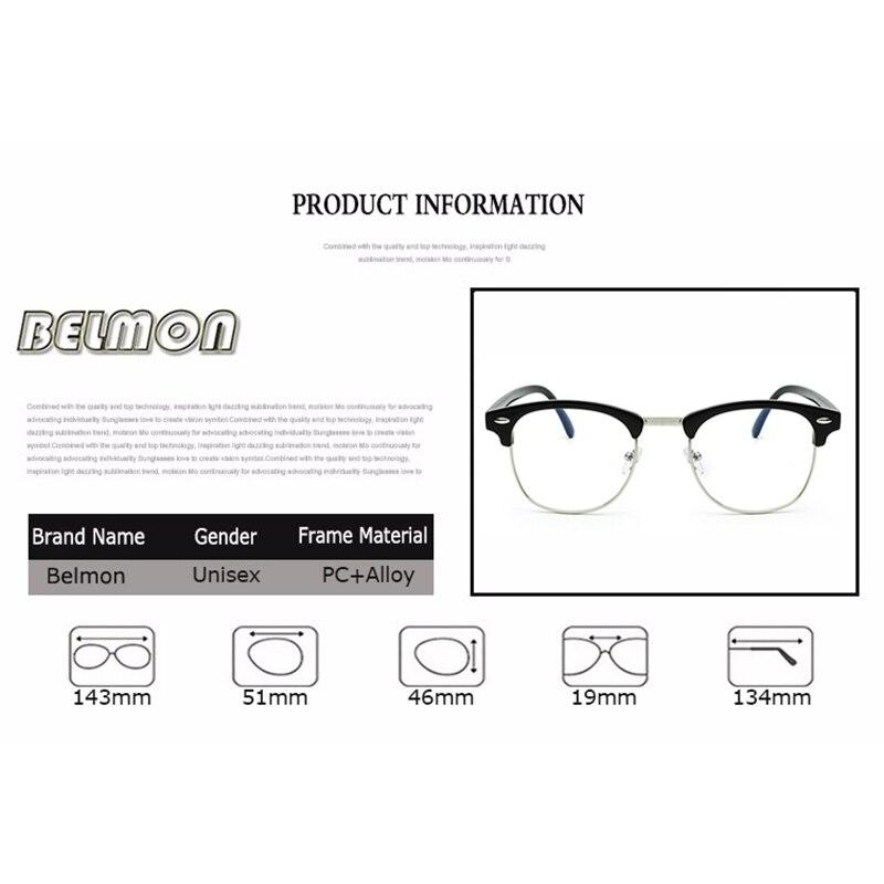 Belmon Spectacle Frame Women Men Eyeglasses Anti Blue Rays Computer Optical Clear Lens Glasses Frame For Female Eyewear RS820 in Men 39 s Eyewear Frames from Apparel Accessories