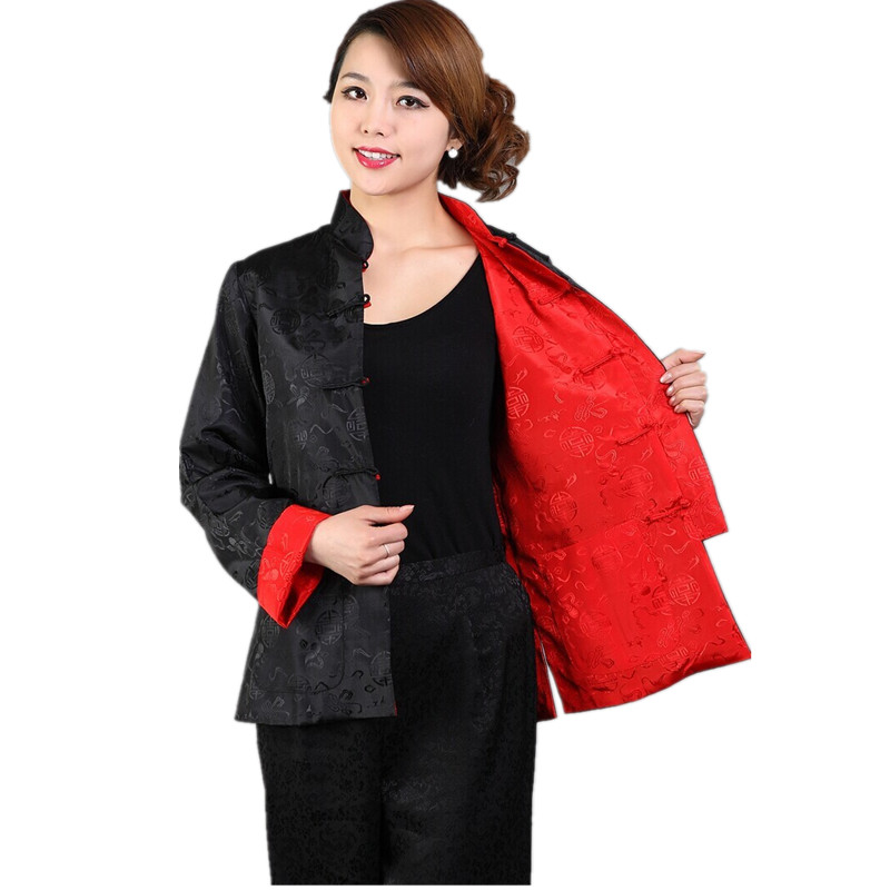 Discount Black Red Reversible Lady Silk Jacket Mandarin Collar Two Face Outwear Single Breasted Coat Size S M L XL XXL XXXL