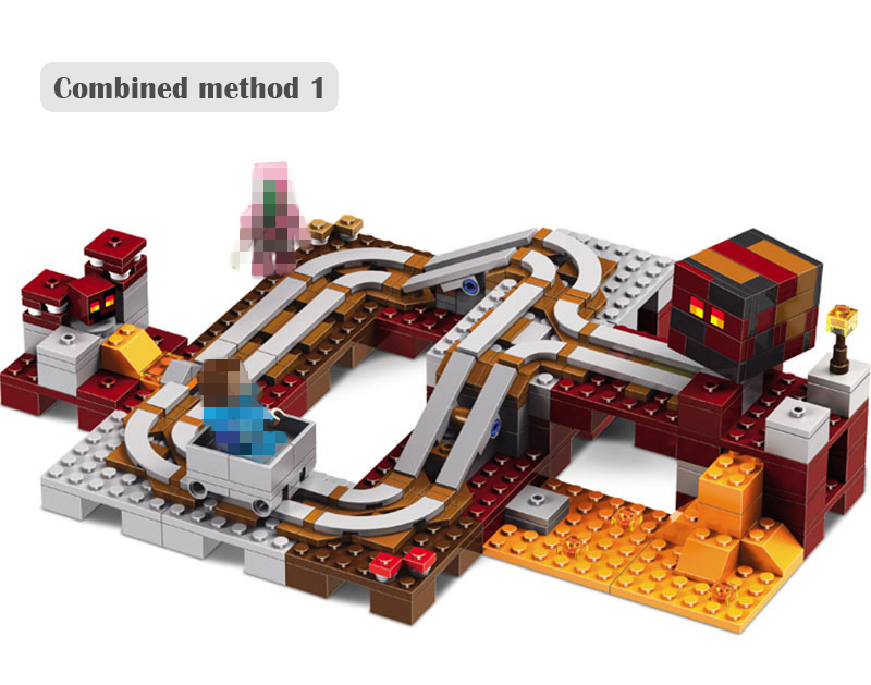 LELE 2017 New Technic Compatible LegoINGlys Minecrafter The Nether Railway Building Blocks My World Educational Toys 402 Pcs 259pcs new my world building blocks sets mine and workers scene blocks compatible legoinglys minecrafter toys for childrens
