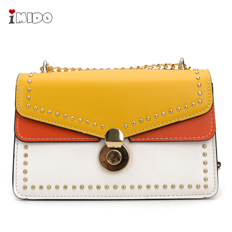 Women's Candy Color Rivets Panelled Handbags PU Leather Flap Lock Chain Crossbody Bag Girls Spring Fashion Small Messenger Purse