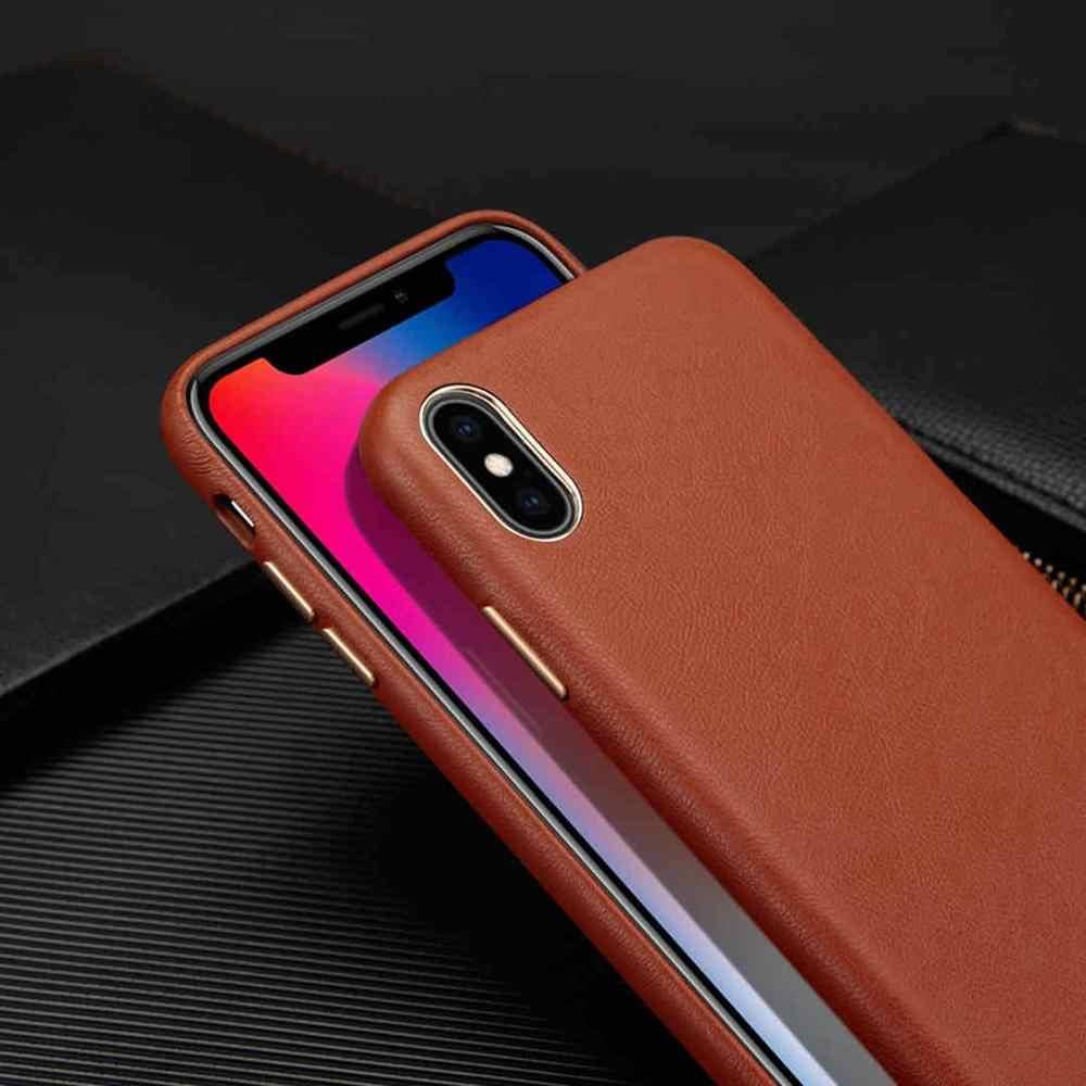 Caso de telefone de couro de luxo para iphone xsmax xs x 8 7 plus 11 pro max 11 pro ultra-fino capa de pele de carneiro para iphone 7 coque