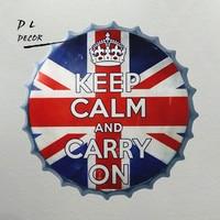 DL-לשמור על קור רוח ולהמשיך בקבוק שלט קיר ציור קיר בציר מגש סימן צד בית מועדון סימן פח פאב דקור