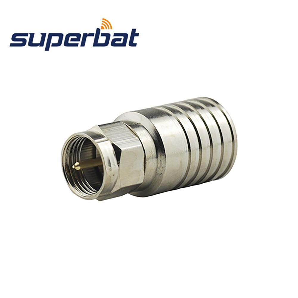 Superbat 10pcs 75 Ohm F Type Plug Male RF Coaxial Connector Crimp For RG11 TV TVB-T TV2 Video Surveillance Antennas