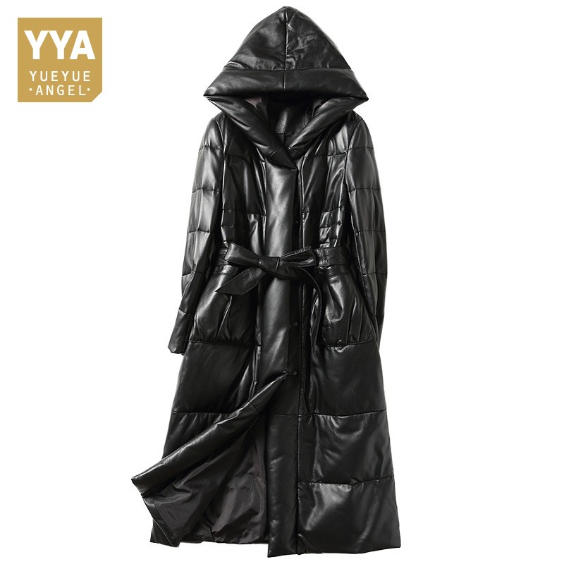 2019 New Winter Women Thick Warm Coat Fashion Solid Genuine Leather Long Down Jacket Casual Hooded