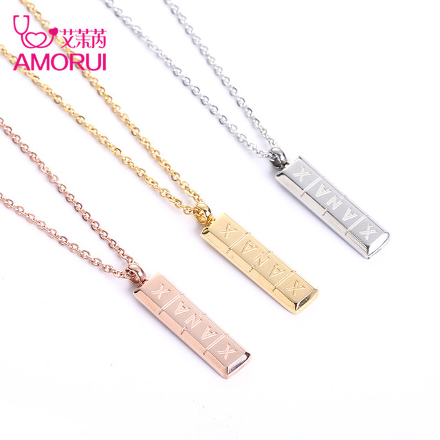 AMORUI Trendy Xanax Vertical Pill Bar Pendant Necklace ID Stainless Steel Women Chain Necklaces Rose Gold Silver Pendant Collier 3