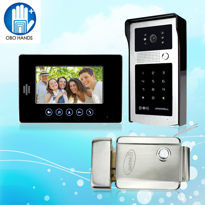 7'' Wired Color Video Door Phone Intercom Doorbell System Kit Set with Outdoor IR Camera+Black Monitor+Electric Lock Low Price wired video door phone intercom doorbell system 7 tft lcd monitor screen with ir coms outdoor camera video door bell