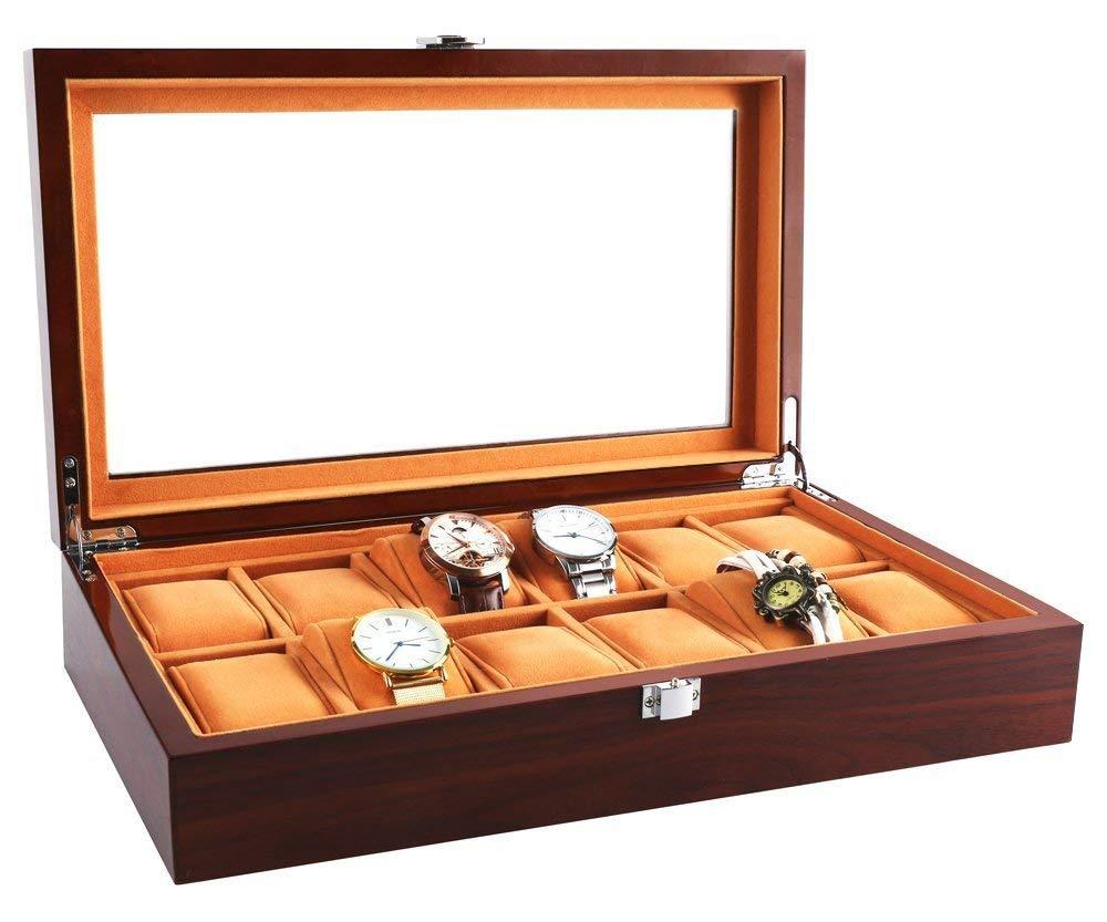Boîtiers de montre pour hommes 12 fentes en bois massif organisateur de stockage boîte d'affichage grand support exquis Durable plateau en verre et oreiller en flanelle