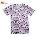 Alisister nueva moda hombres/mujeres clothing summer casual de dibujos animados pusheen cat piggy camiseta impresa 3d t-shirt pareja desgaste camisas