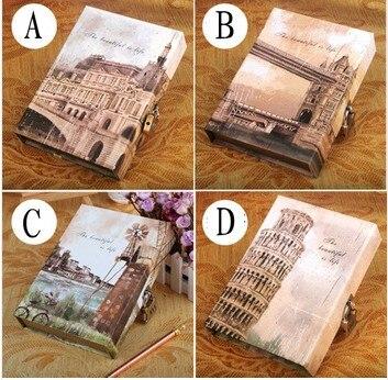 Kreatif Eropa baru memulihkan kotak kuno kata sandi notebook diary bangunan dengan kunci Hardcover hardfaced copy notepad