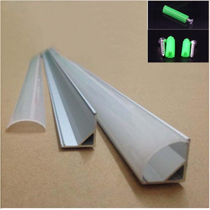 20-80 m, 10-40 pièces 2 mètres profil en aluminium d'angle de 45 degrés profilé d'aluminium LED pour 10mm de panneau de CARTE PCB, semi LED ronde barre lumineuse