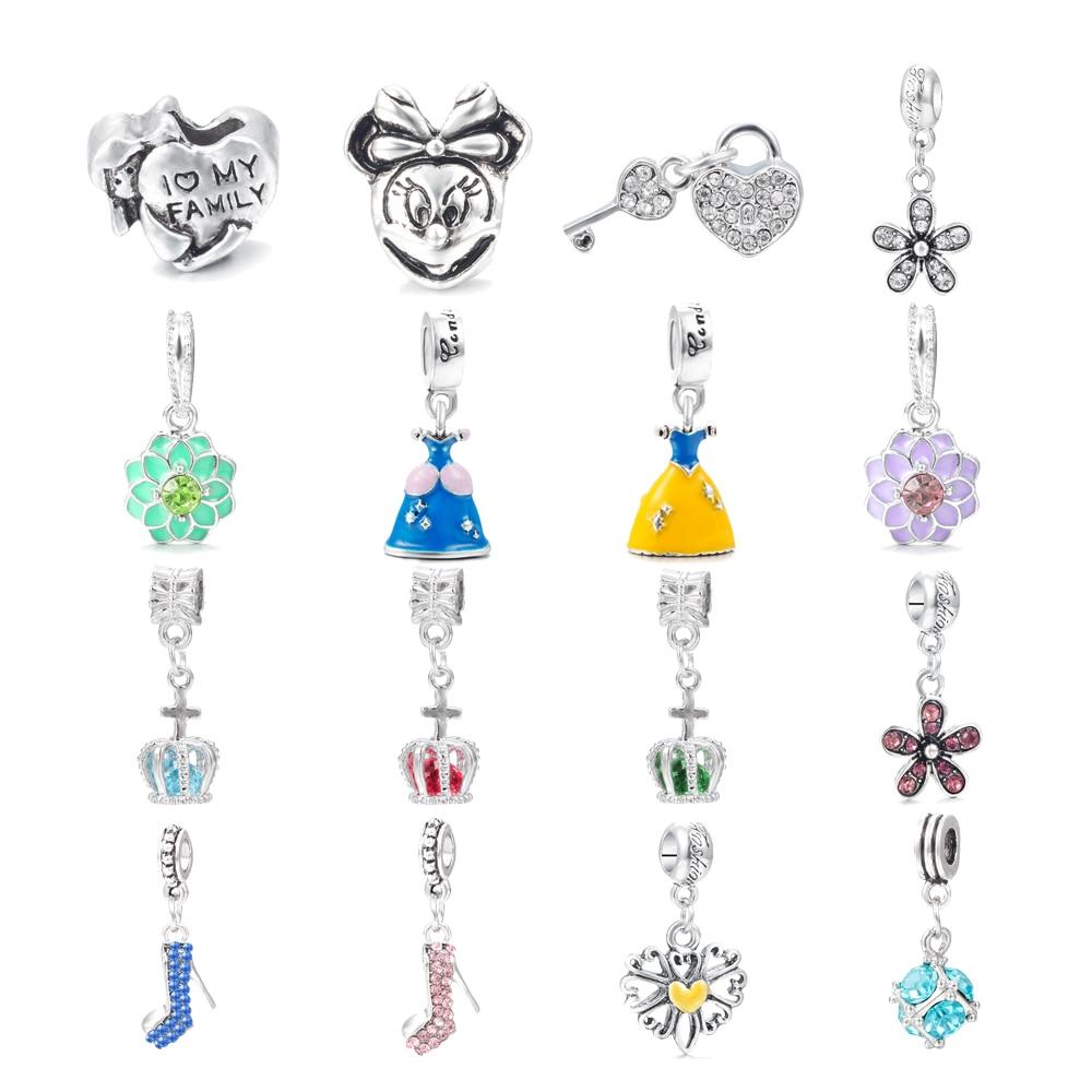 HOMOD Free Shipping 1Pcs Silver Bead Charm European Silver With Mickey Cartoon Charm Pendant Bead Fits Pandora Bracelet Gift