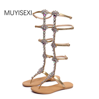 CHENSIR9 High Quality Rhinestone Knee High Sandals Summer Women Gladiator Sandals Sandalias Gold Black Size 33
