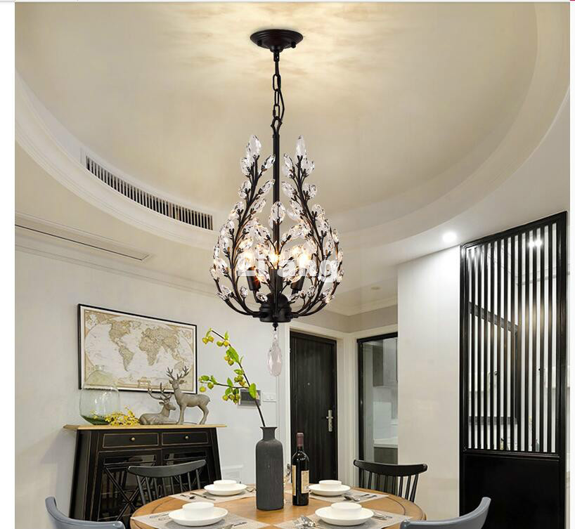 Newly Nordic Vintage Crystal Pendant Lights D35cm AC Pendant Lamps Dining Room Restaurant Cafe Hanging Suspension Light Fixtures nordic iron pendant lights lamps d35cm metal hanging light dining room kitchen home house light white black suspension lamp