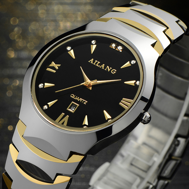 Fashion AILANG Lovers Tungsten Steel Dress Watches Vintage Roman Scale Couples C
