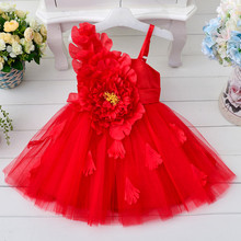 Champagne Pink White Red Wedding Flower Girl Party Dress Summer Kids Baby Girls Princess Dresses Clothes