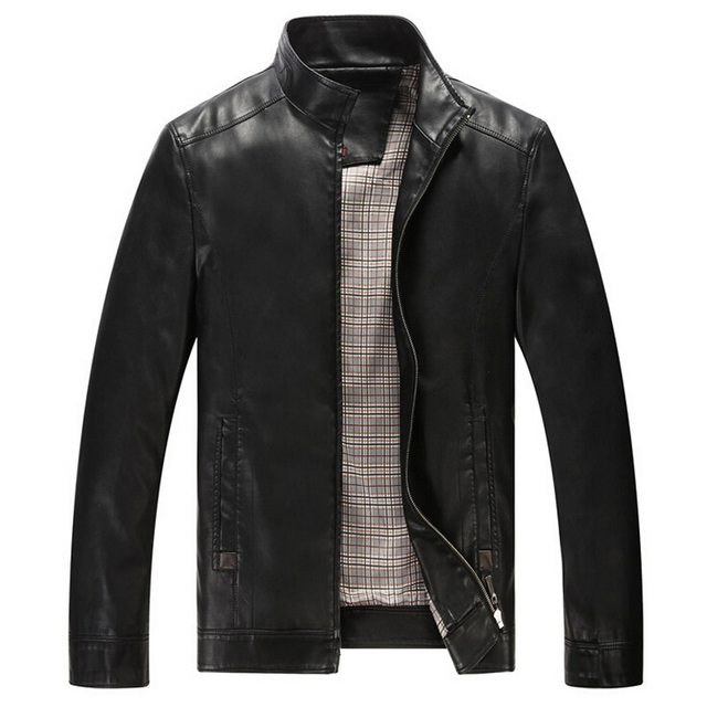 Leather Jacket Men Outwear Motorcycle Jackets Men's Biker Casual Stand Collar Chaqueta Cuero Hombre Coats Plus size XXXL