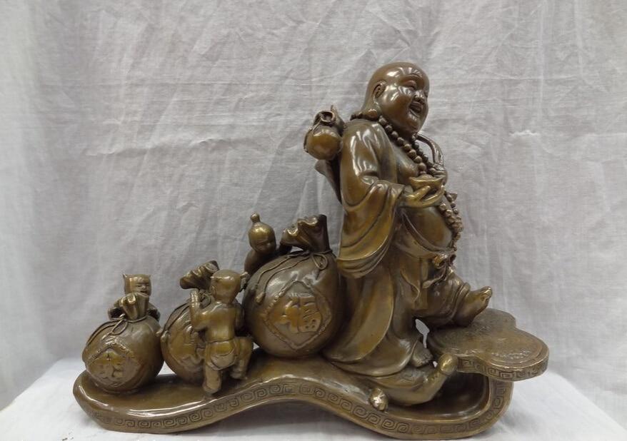 "USPS to USA S1228 17"" China Bronze 3 Kid Cai Fu Bag Wealth Happy Laughing Maitreya Buddha Statue (B0328)|usp| |  - title="