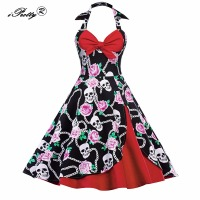 Retro Summer Women Dress 1950 S 60s Halter Bow Sleeveless Patchwork Swing Skull Dress Vintage Rockabilly