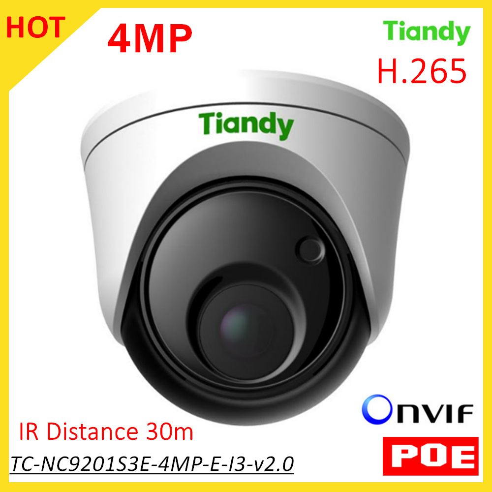 цены New Tiandy English Version POE IP Camera TC-NC9201S3E-4MP-E-I3-v2.0 1/3 CMOS H.265 4MP IR Distance 30m for Outdoor IP66