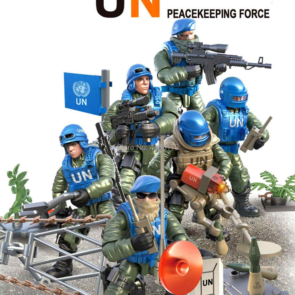 hot LegoINGlys military United Nations peacekeeping force Counter terrorism war Building Blocks ww2 army figures brick toys gift