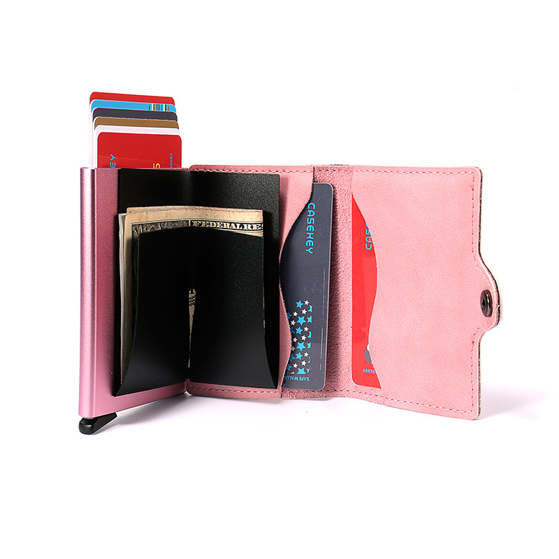 RFID Unisex Bank Credit Card Holder Men Women Multifunction Metal Aluminum ID Leather Cardholder Mini Wallet Slim Purse