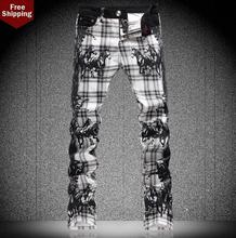 Осенняя мода черный англия отпечатано знаменитый бренд джинсы мужские брюки джинсовые брюки мужские прямые персонализированные новое прибытие дизайнер