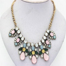 Ahmed Jewelry Europe Crystal Statement Flower Necklace For Woman 2016 New Vintage Necklaces Pendants Wholesale Price