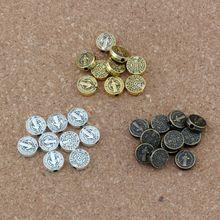 150pcs/lot Saint Benedict Medal Cross Crucifix Round Spacers Beads DIY 9x9mm 3color select D50