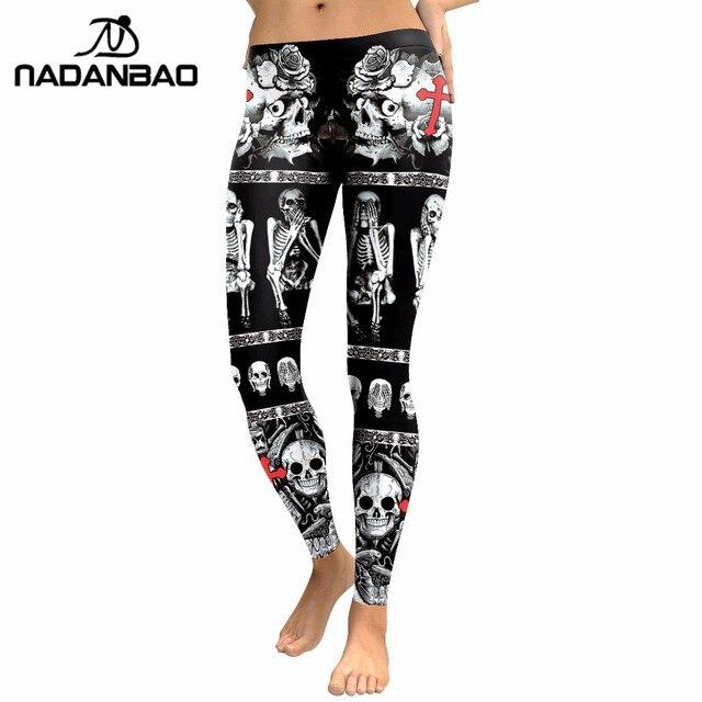 NADANBAO 2019 New Arrival Skull Head Women Leggings Letter Gradient Digital Print Pants Slim Fitness Workout Woman Leggins 5