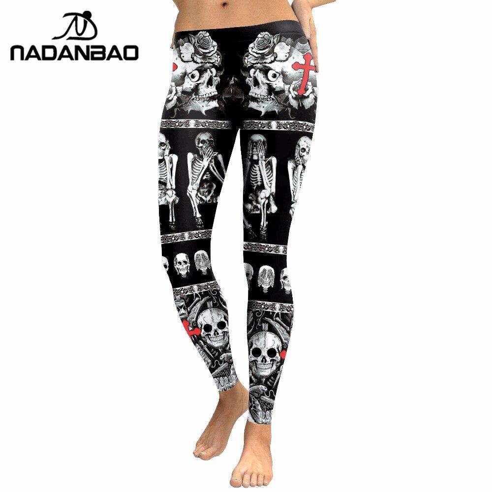 Image 5 - NADANBAO 2019 New Arrival Skull Head Women Leggings Letter Gradient Digital Print Pants Slim Fitness Workout Woman Leggins-in Leggings from Women's Clothing