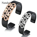 Nandudu Hand Cuff Bangle Resin Plastic Bracelet Crystal Gold Plated Adorn New Female Women Fashion Jewelry Gift B25 B29